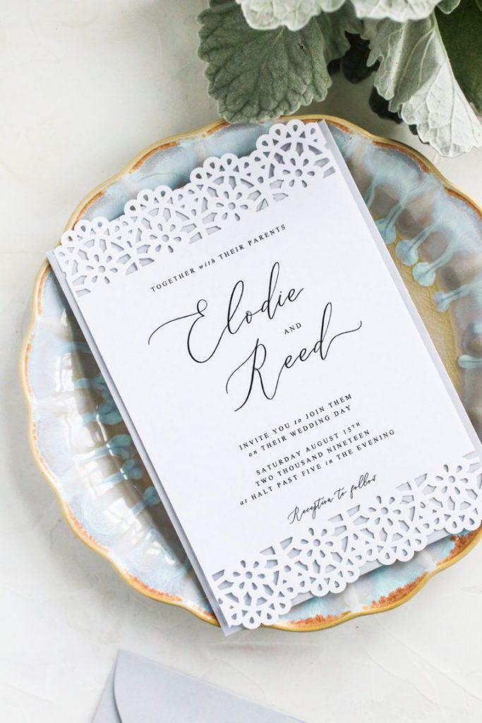 DIY wedding invitation Simple Laser Cut Design