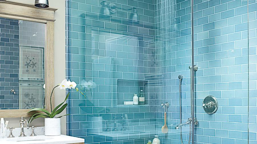 Sea Blue Doorless Walk-in Shower Ideas