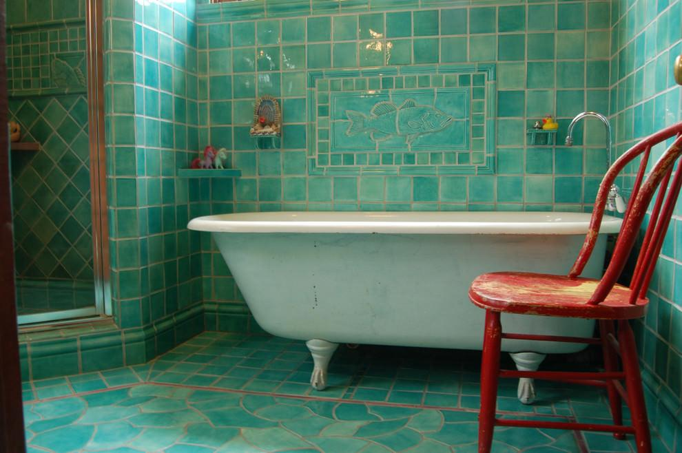 Turquoise Doorless Walk-in Shower Ideas