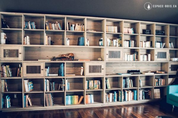 Whole wall DIY built-in bookshelves