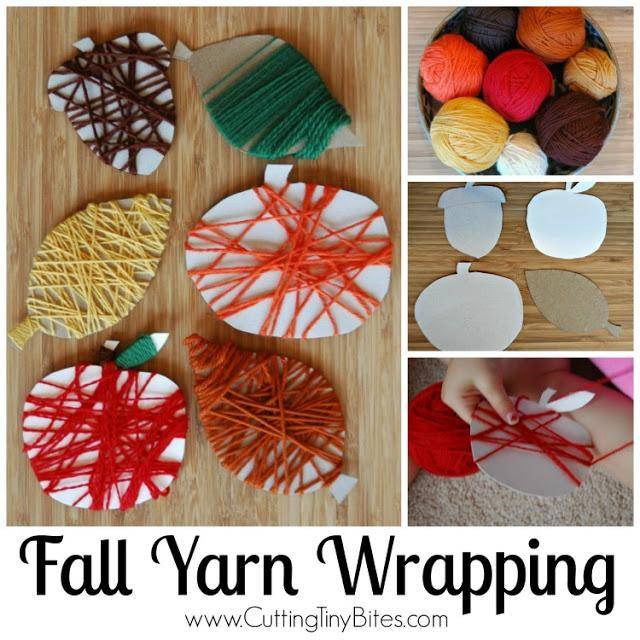 Yarn Wrapping Fall Crafts for Kids