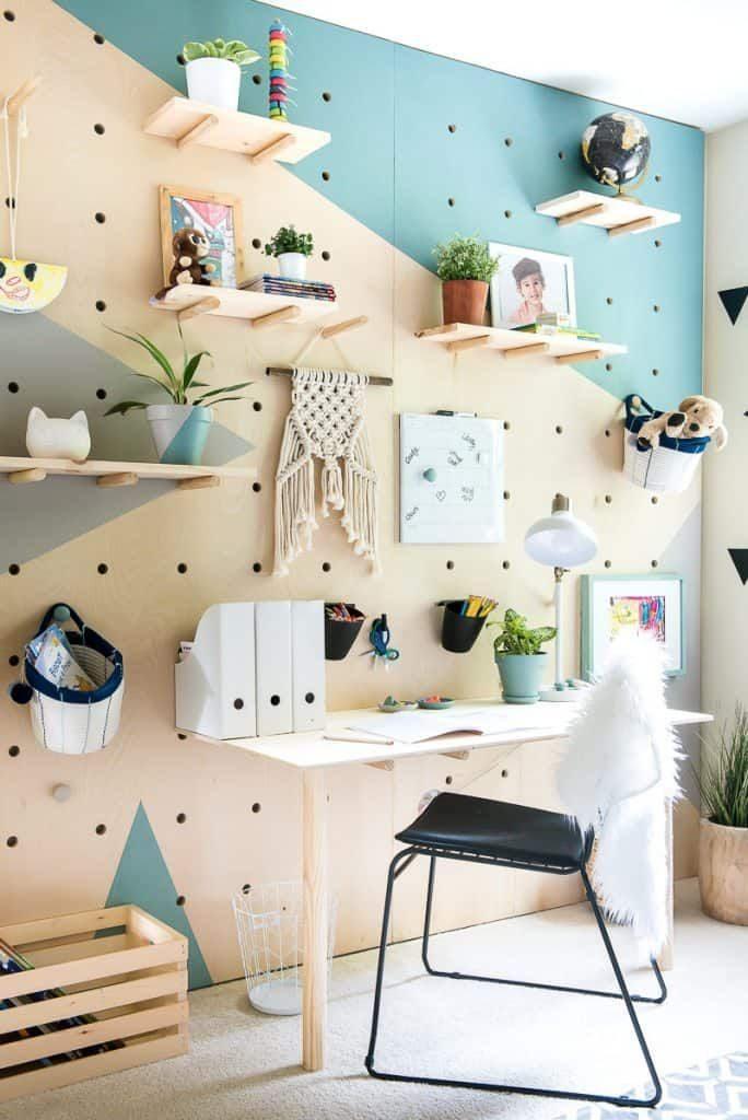 Desk Organizer Ideas pegboard wall