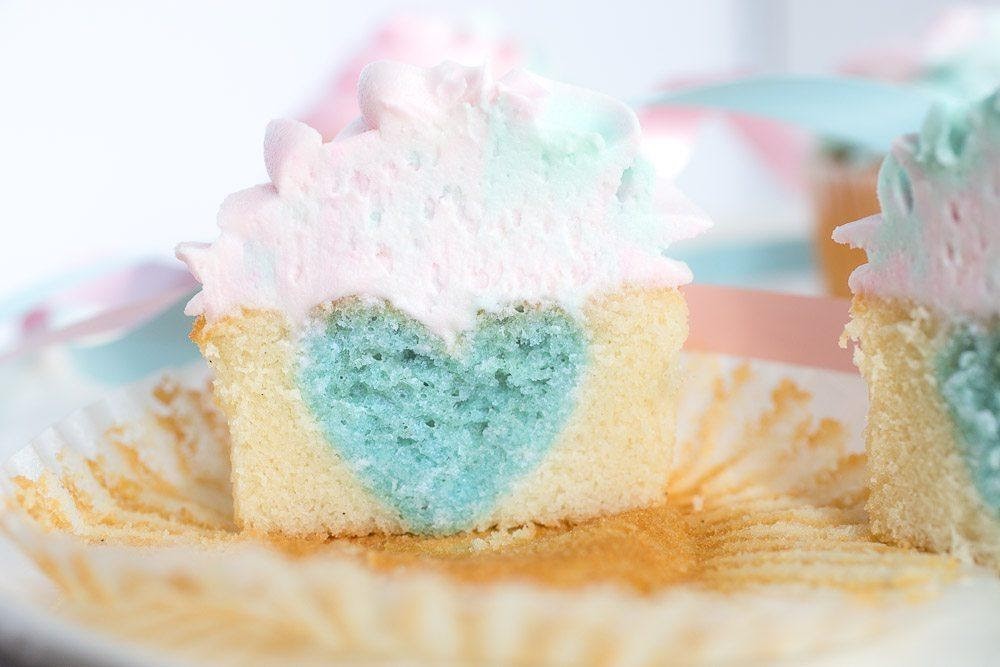 Heart-Shaped Inside Cupcakes