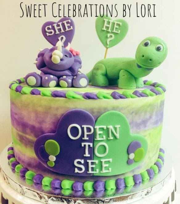 Purple or Green Gender Reveal Cake
